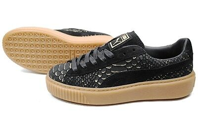 a8bd3d1032aa Puma Womens Platform Exotic Skin Black Gold Lifestyle Sneakers 363377-01