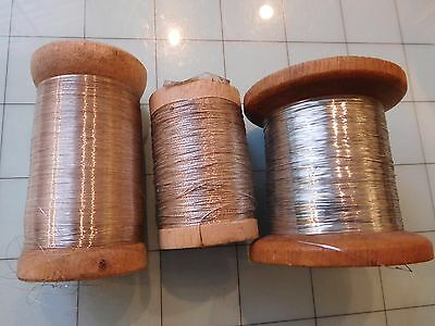 Lot of 3 Antique c.1920's French Silver Metal Metallic Embroidery Thread Spools