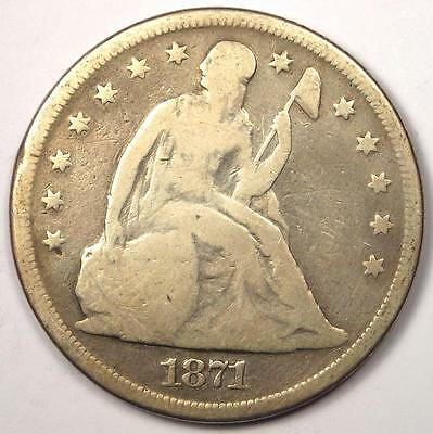 1871 Seated Liberty Silver Dollar $1 - VG Details - Rare Early Type Coin!