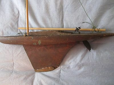 """Early Hand Made POND BOAT ~ Detailed Construction ~ LARGE 21"""" ~ Antique Sailboat"""