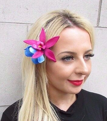 Double Hot Pink Blue Orchid Flower Hair Clip Rockabilly 1950s Fascinator 3449