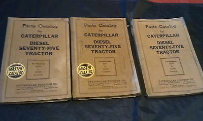 Lot Of 3 Vintage Caterpillar Diesel Seventy Five 75 Tractor Parts Catalogs
