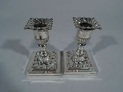 Victorian Candlesticks - Antique Low Pair - English Sterling Silver - 1898