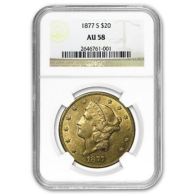 1877-S $20 Liberty Gold Double Eagle AU-58 NGC