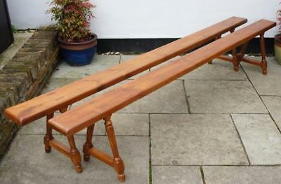 Beautiful pair of long early 20th c French fruitwood benches 8' 2""