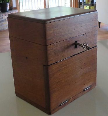 Unusual Antique Wood Box with Key