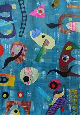 Teal Minimalistic Abstract Painting Collage Geometric Retro Style 1950s Atomic