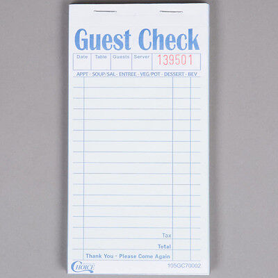 2 Part Green and White Carbonless Restaurant 1000 Guest Checks - 20 Books / Case