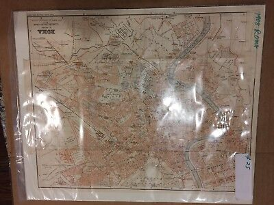 BEAUTIFUL Antique 1908 Map of Rome Roma Italy 1:16 scale - grey/red/pink colors
