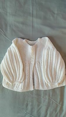 Vintage Childrens Hand Knitted White Baby Cardigan Age Approx 12-18 Months