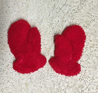 Vintage 70s Bright Red Fuzzy Fleece Mitten Gloves Children's Unisex Boys Girls