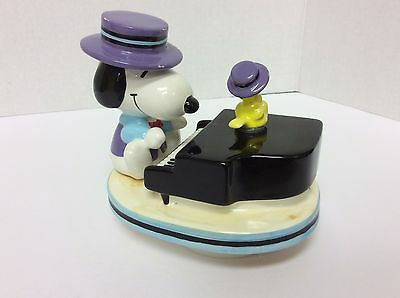 Vintage Peanuts Snoopy Woodstock Schmid Ceramic Music Box The Entertainer