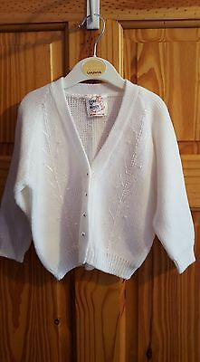 Childrens Vintage White Baby Cardigan Age 18 Months - NEW