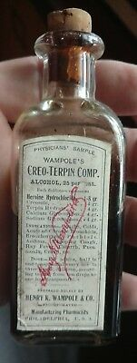 """Antique Apothecary Bottle """" Wampole's Cre -Terpin Comp. """". Heroin Hydrochlorate"""