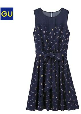 Sailor Moon x GU 25th Anniversary Navy One Piece Dress L Size F/S