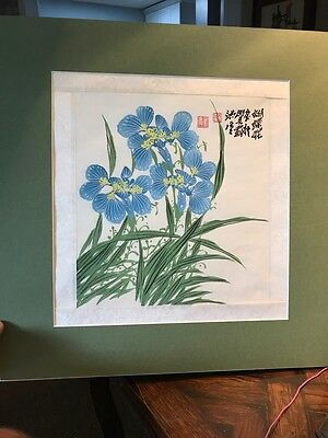 Vintage Original Chinese PAINTING of IRISES * Asian flower art