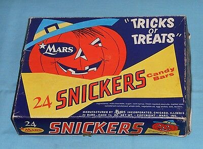 vintage original Mars SNICKERS HALLOWEEN CANDY BOX (only) with mask on bottom