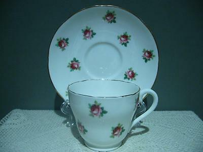 Vintage Adderley Bone China Floral Rose Buds / Sprigs Demitasse Coffee Duo - Vgc