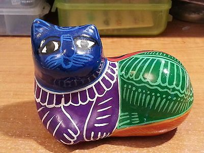 Mexican Pottery Folk Art Cat in Vibrant Colors