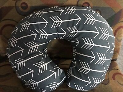 Boppy pillow cover Dark Gray W/ White Arrows Print Also Take Orders USA