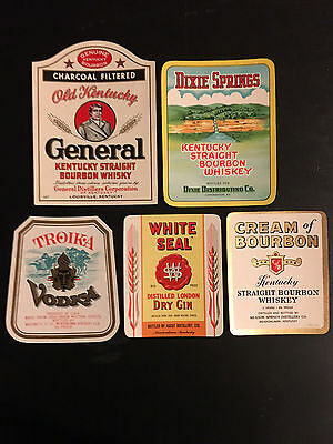 Vintage & Original  Lot Of 25 Kentucky Liquor/Whiskey/Bourbon Bottle Labels (L1)