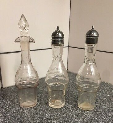 Antique English Sterling Tall Salt & Pepper Shakers , Oil Decanter Etched Glass