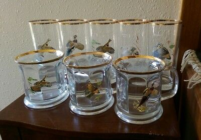 Lot 8 Vintage Ned Smith Glasses, Cups, Mugs Gold Rim
