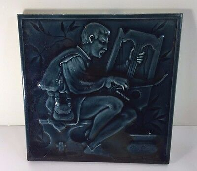 """Antique MINTONS CHINA WORKS 8"""" Teal Blue Pottery Pictorial Tile w/ Musician"""