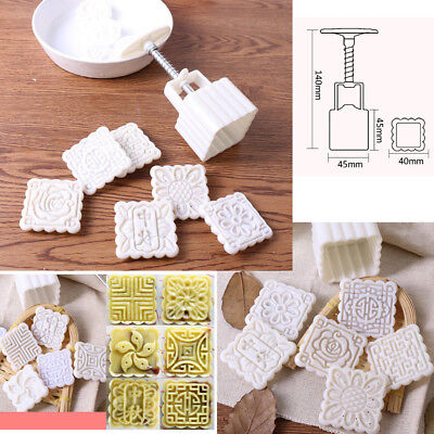 6 Stamps Square Flower Mooncake Mold Mould Set Moon Cake Decor Baking Tool 50g