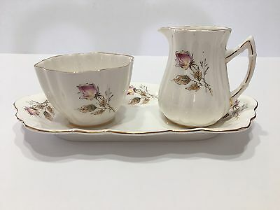 Old Royal Bone China Cream & Sugar Set(3) with Serving Tray With Flowers England