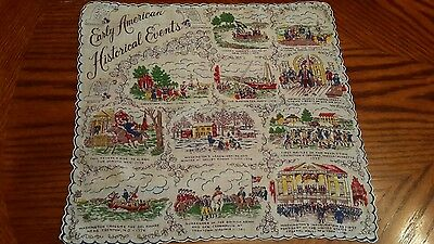 Vintage Handkerchief Features Early American Historical Events