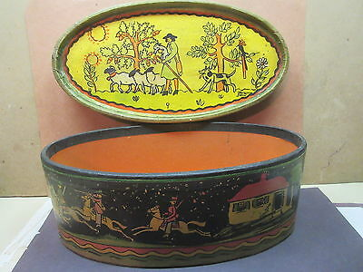 vintage tony sarg oval box deer hunt & sheep & dog & herder heavy cardboard rare