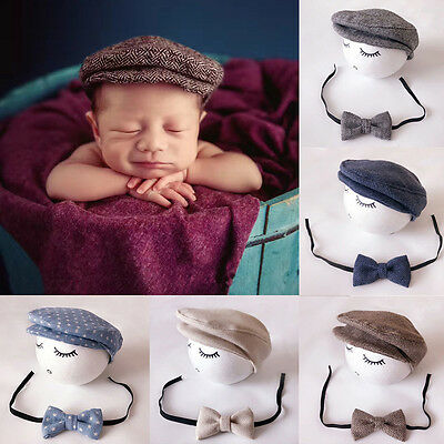 Peaked Cap Newborn Baby Beanie Hat + Bow Tie Photo Photography Prop Outfit Set A