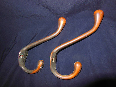 2 Matching Vintage Cast Iron Coat Rack Hall Tree Hooks Japaned Copper Finish