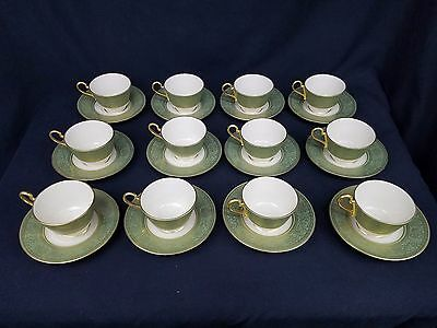 Franciscan Renaissance Crown 12 Tea Coffee Cup & Saucer Gold Filigree Green