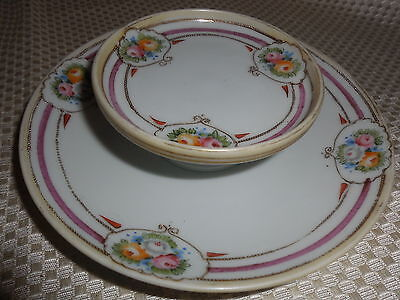 Hand Painted Nippon Floral Raised-Gold two tier dish plate relish serving tray