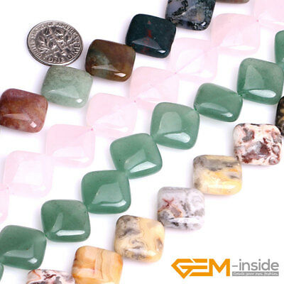 """Natural 16mm Assorted Stones Square Beads For Jewelry Making Strand 15"""" YB"""