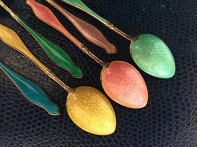 Gold Sterling Silver Guilloche Enamel Boxed Set 12 Spoons Norway