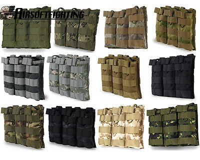 Tactical 5.56 .223 Triple Open Top Magazine Mag Pouch w/Molle System For Vest