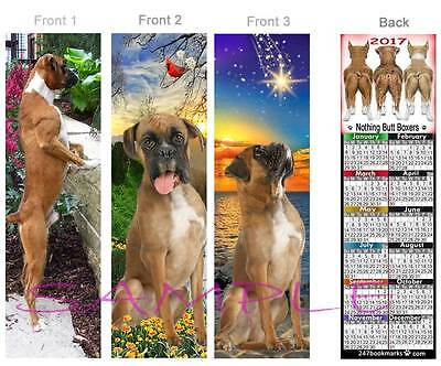 3 Set-BOXER 2017 Calendar BOOKMARK FUN Fawn DOG Book ART Card Ornament Figurine