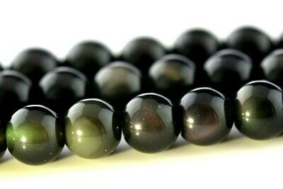 """4MM Genuine Natural Rainbow Obsidian Beads Grade AAA Round Loose Beads 15"""""""