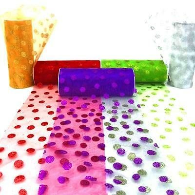 """Polka Dot Tulle Gift Ribbon Wedding Supply Tulle  6""""*10yd roll 5 colors Bd"""