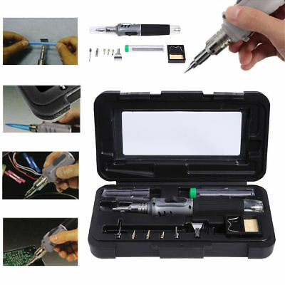 10-in-1 Self-Ignition Gas Soldering Iron Set Cordless Welding Torch Kit Tool UK
