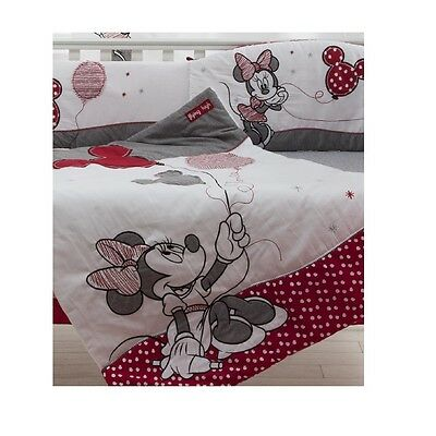 Disney Red Minnie Mouse Appliqued Crib Comforter Quilt - babybeddingdesign