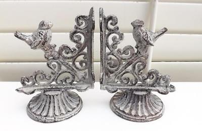 French Provincial Bird Cast Iron  Book Ends  White Washed  Antique Effect New *