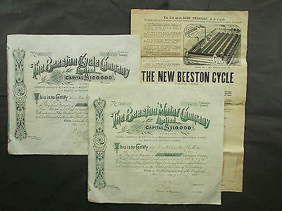 Sensationally Early Motor Bike + Bicycle Pioneer Shares Combo + Archive 1898