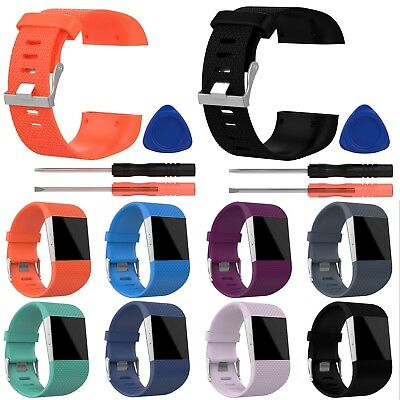 8 Colors Sport Silicone Watch Band Wrist Strap Wristband w/Tool For Fitbit Surge