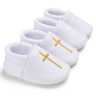 Newborn Baby Soft Sole First Shoes Boy Girl Christening White Crib Shoes 0-18 M