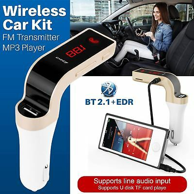 Wireless Bluetooth FM Transmitter Car MP3 Handsfree AUX USB Charger Kit LCD UK