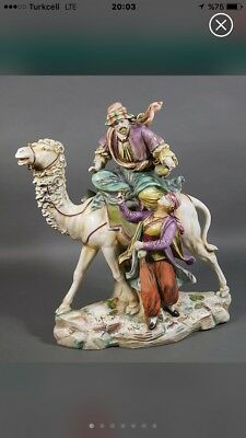 Orientalist Rare Royal Dux Porcelain Group Of Camel Rider And His Lover